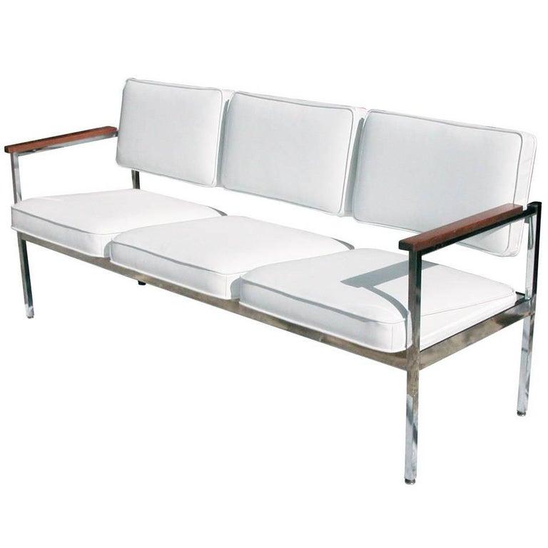 Vintage Mid-Century Steel Case Three-Seat Sofa For Sale