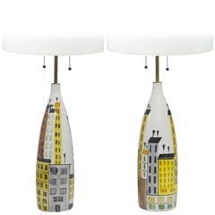 Pair of Bitossi Raymor Cityscape Ceramic Lamps, Italy