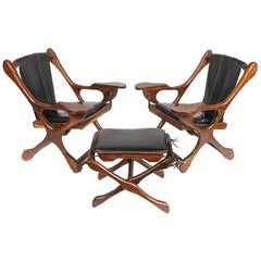 Pair of Don S. Shoemaker Sling Swinger Chairs with Matching Footstool
