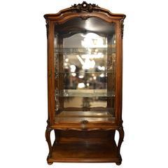 Antique 19th Century French Walnut Vitrine or Display Cabinet