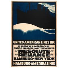 "Original Cruise Ship Travel Poster for Hamburg-New York by ""Resolute"" ""Reliance"""