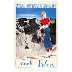 Original Vintage 1930s Skiing Travel Poster Advertising Poland for Winter Sports