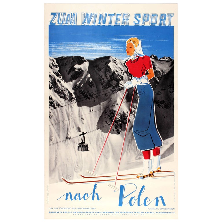 Original Vintage 1930s Skiing Travel Poster Advertising Poland for Winter Sports For Sale