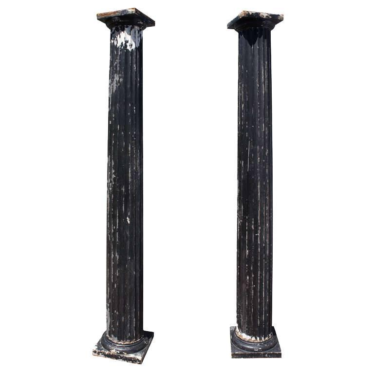 Antique Fluted Columns, Pair