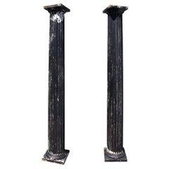 Antique Fluted Columns, Pair