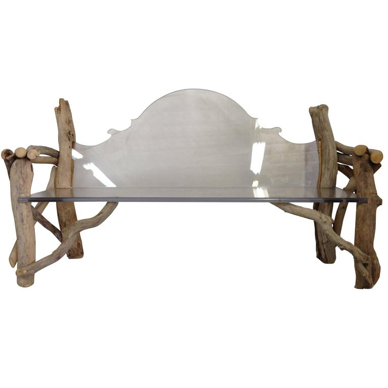 Modern and Baroque Lucite Slab and Driftwood Bench For Sale