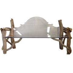 Modern and Baroque Lucite Slab and Driftwood Bench