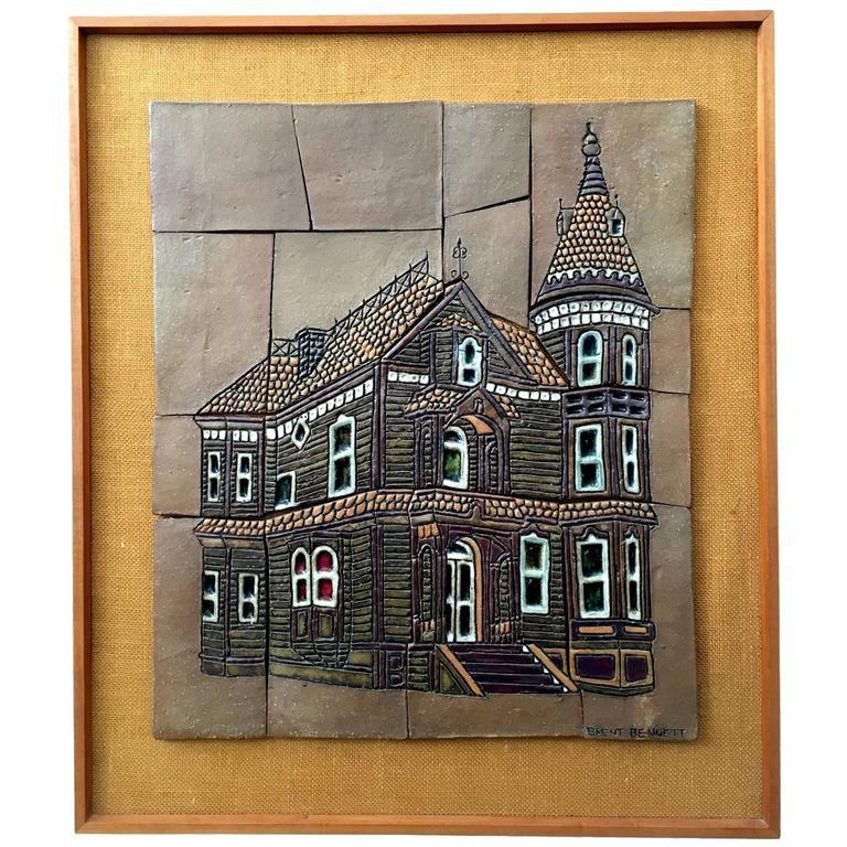 """1970s Studio Ceramic Tile """"Oceano House"""" by Brent Benett"""