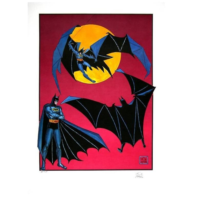1985 Bob Kane Signed Batman Poster Lithograph Limited