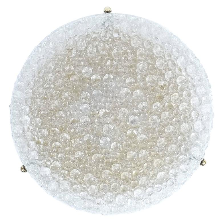 Large Textured Bubble Glass Brass Flush Mount by Hillebrand, circa 1960