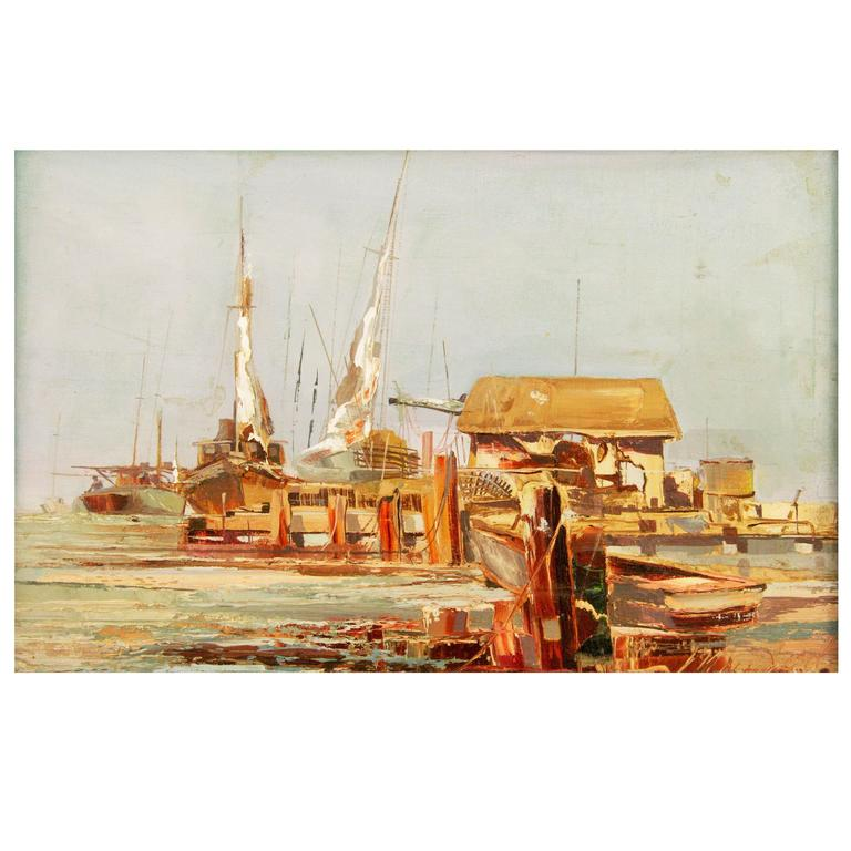 Harbor Scene By Mogul For Sale