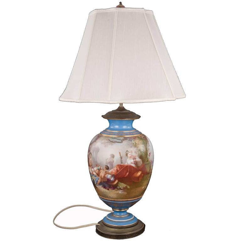 19th Century Sevres Table Lamp with Bacchus Painted Panel 1