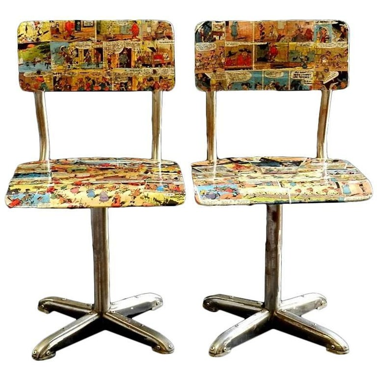 Tremendous Pair Of Mid Century Bentwood Childs Chairs 1950S Childrens Comic Decoupage Download Free Architecture Designs Scobabritishbridgeorg
