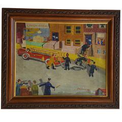 Playful Folk Art Fire Truck Painting by J. Nathan, circa 1948