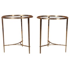 Pair of Bronze Compatible Circular Hollywood Regency Side Tables