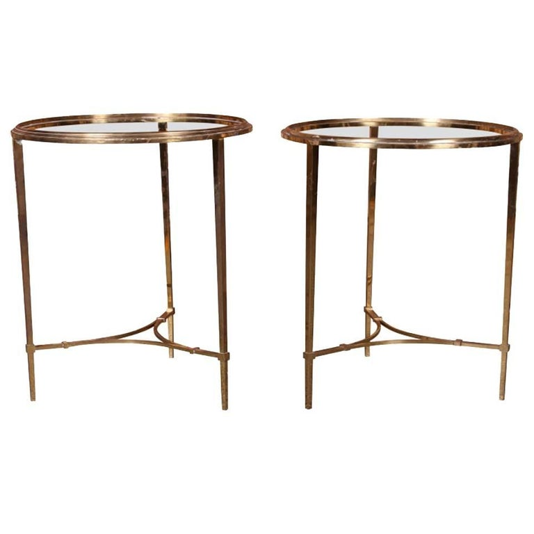 Pair of Bronze Compatible Circular Hollywood Regency Side Tables For Sale