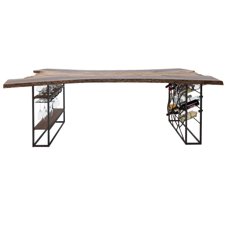 Raw Craft Table and Wine Rack One of a Kind, Handcrafted with Anthony Bourdain For Sale