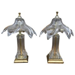 Mid-Century Pair of Murano Glass Lamps