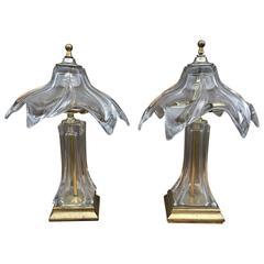 Mid-Century Pair of Murano Glass Lamps