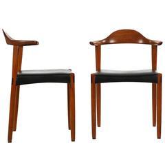 Vintage Pair of Danish Mid-Century Sculpted Teak & Rosewood Inlaid Elbow Chairs