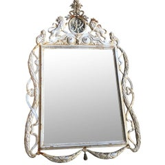 French Late 19th Century White Painted Cast Iron Patio Wall Mirror