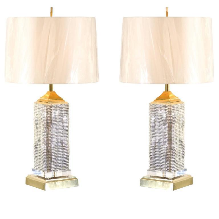 Spectacular Pair of Custom Molten Mercury Glass Skyscraper Lamps For Sale