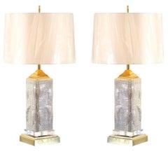 Spectacular Pair of Custom Molten Mercury Glass Skyscraper Lamps