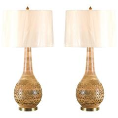 Exquisite Pair of Handmade Brass Studded Gourd Vessels as Custom Lamps