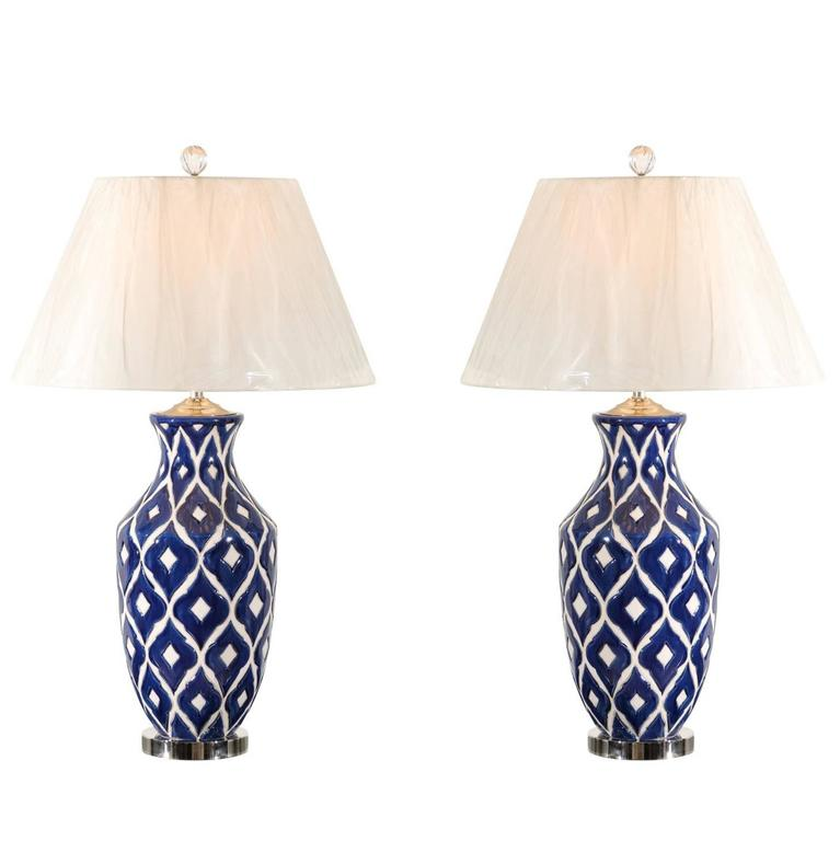 Striking Pair of Large-Scale Ceramic Lamps with Accents of Nickel and Lucite