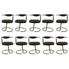 Giotto Stoppino, Set of Ten Chrome and Moleskine Chairs, 1970