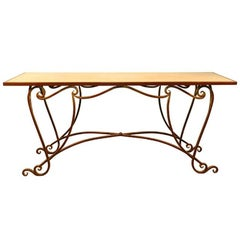 Large Gilt Wrought Iron and Marble Console, 1970