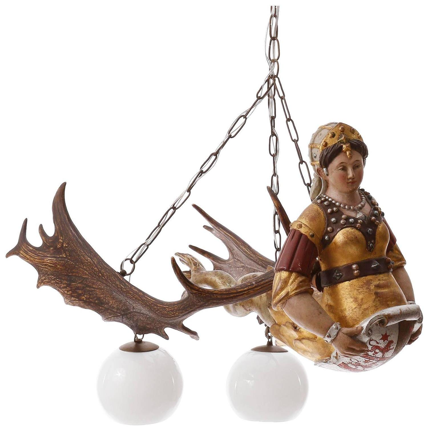 Antique antler chandelier with carved wood figurine lusterweibchen antique antler chandelier with carved wood figurine lusterweibchen for sale at 1stdibs aloadofball Image collections