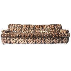 Striking Four-Seat Sofa in Original Jack Lenor Larsen Fabric, 1970s