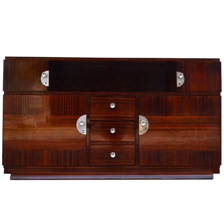 Dark brown palisander art deco commode or buffet for sale at 1stdibs - Commode buffet design ...