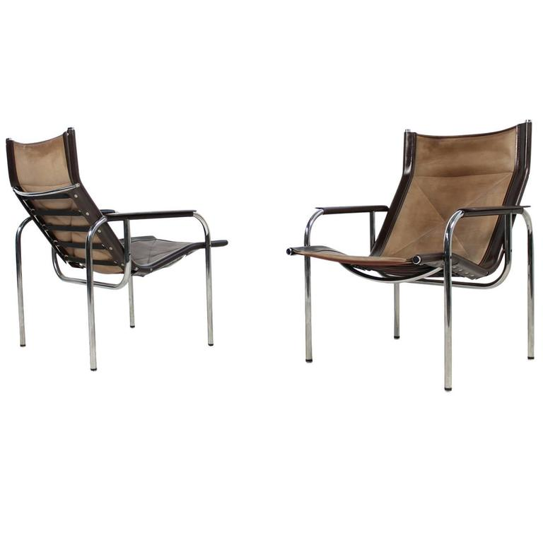 Pair of 1970s vintage hans eichenberger coffee leather and for Lounge chair kopie