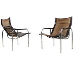 Pair of 1970s Vintage Hans Eichenberger Coffee Leather & Chrome Lounge Chairs