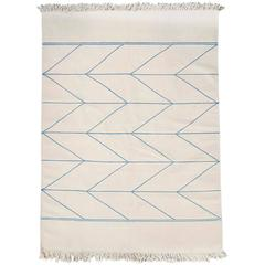 Handwoven Carpet in Off-White and Fair Blue Wool by Vibeke Klint, Denmark, 1960s