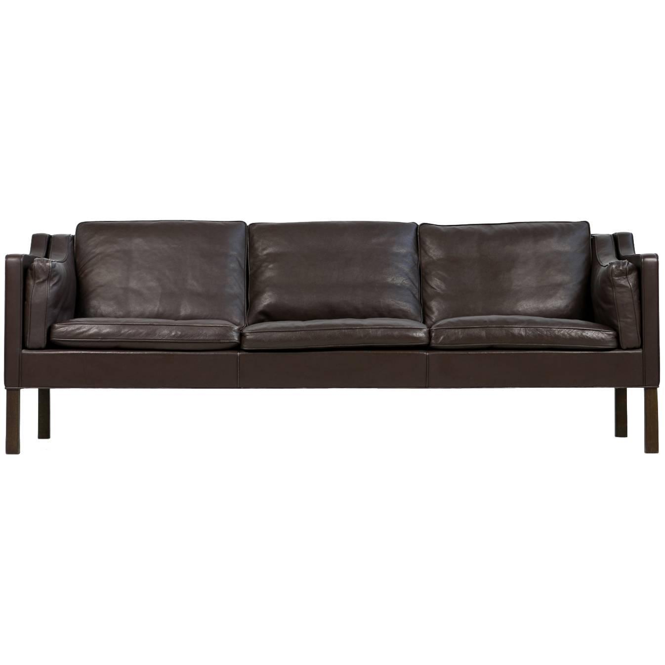 Brown 1960s Borge Mogensen Leather Sofa Mod. 2213 Danish Modern Design At  1stdibs