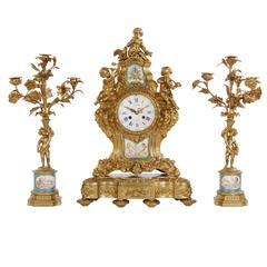 Sèvres Style Porcelain Mounted Ormolu Three-Piece Clock Set by H. Picard