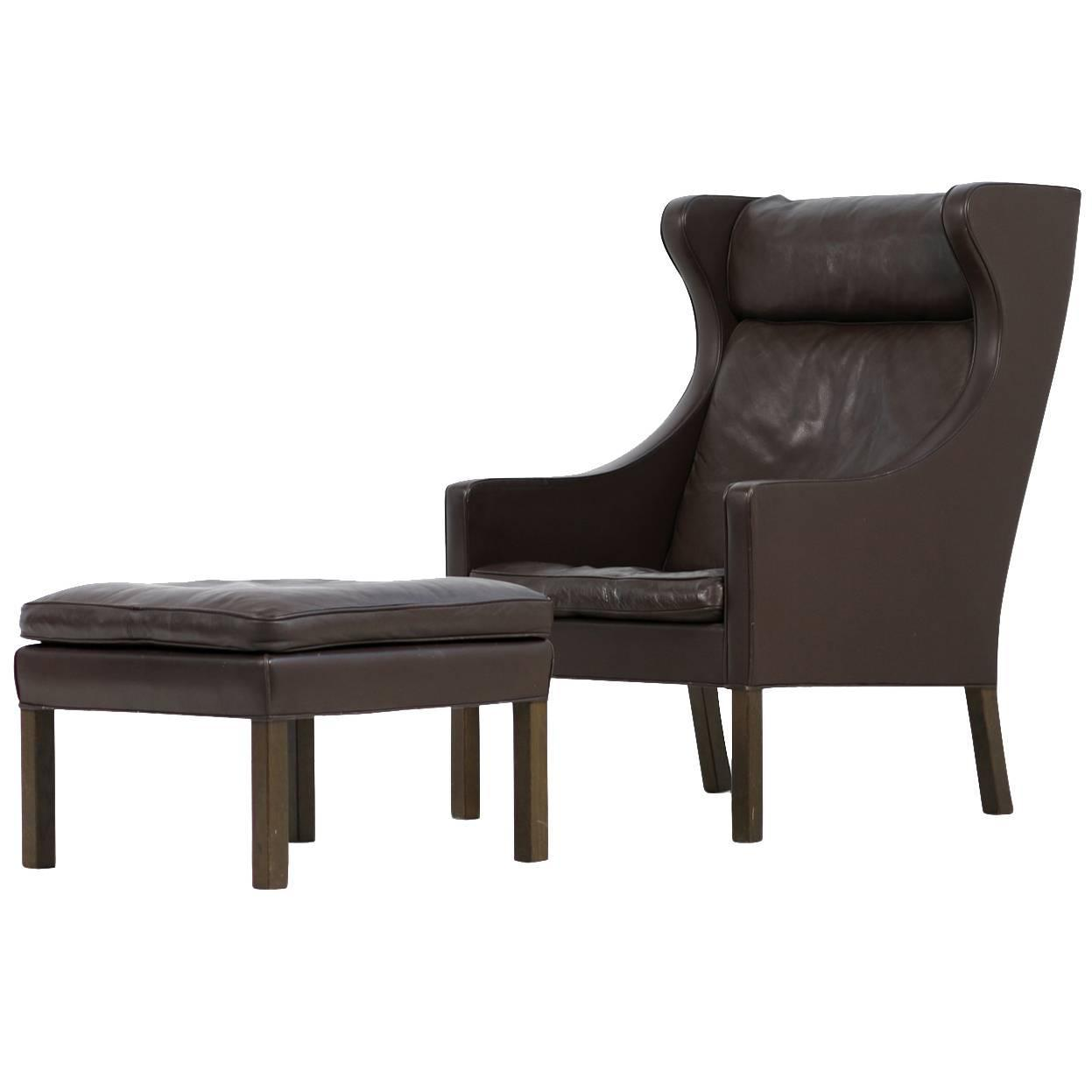 Brown 1960s Borge Mogensen Leather Wingback Lounge Chair And Ottoman 2202  And 2204 At 1stdibs