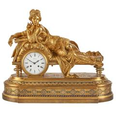 Large Enameled Ormolu Figural Mantel Clock by H. Picard and Denière & Fils