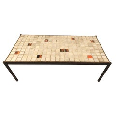 Mado Jolain and René Legrand, coffee table in wrought iron and ceramic top.