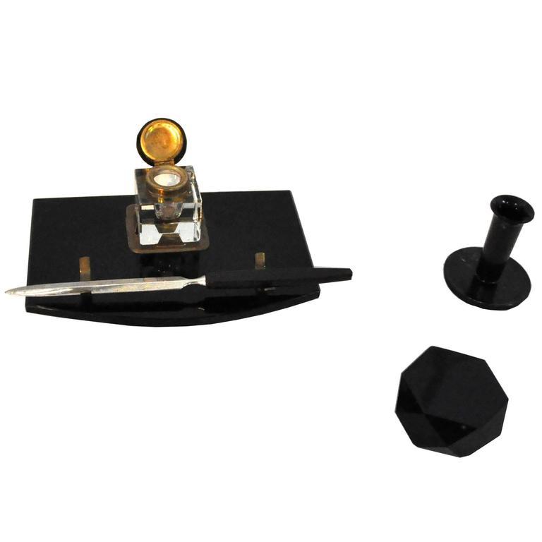 Schreibtisch-Set aus schwarzem Marmor und Messing, Art-Déco, 1920er Jahre 1