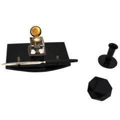 1920s Art Deco Desk Set Made of Black Marble and Brass