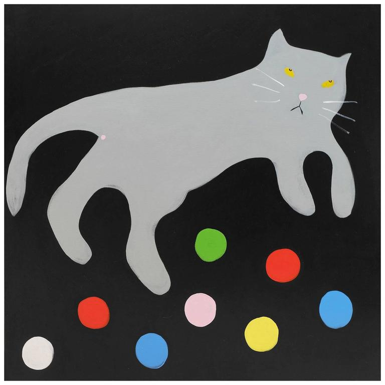 'Cat Balls' Cat Portrait Painting by Alan Fears Pop Art Folk Art