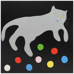 'Cat Balls' Cat Portrait Painting by Alan Fears Pop Art Folk Art