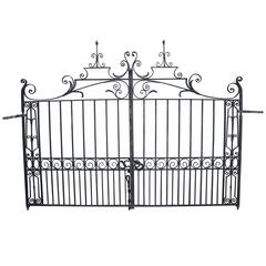 Pair of Early 20th Century Wrought Iron Driveway Gates