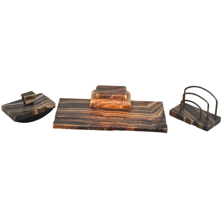 Vintage Desk Set Made of Red and Brown Marble