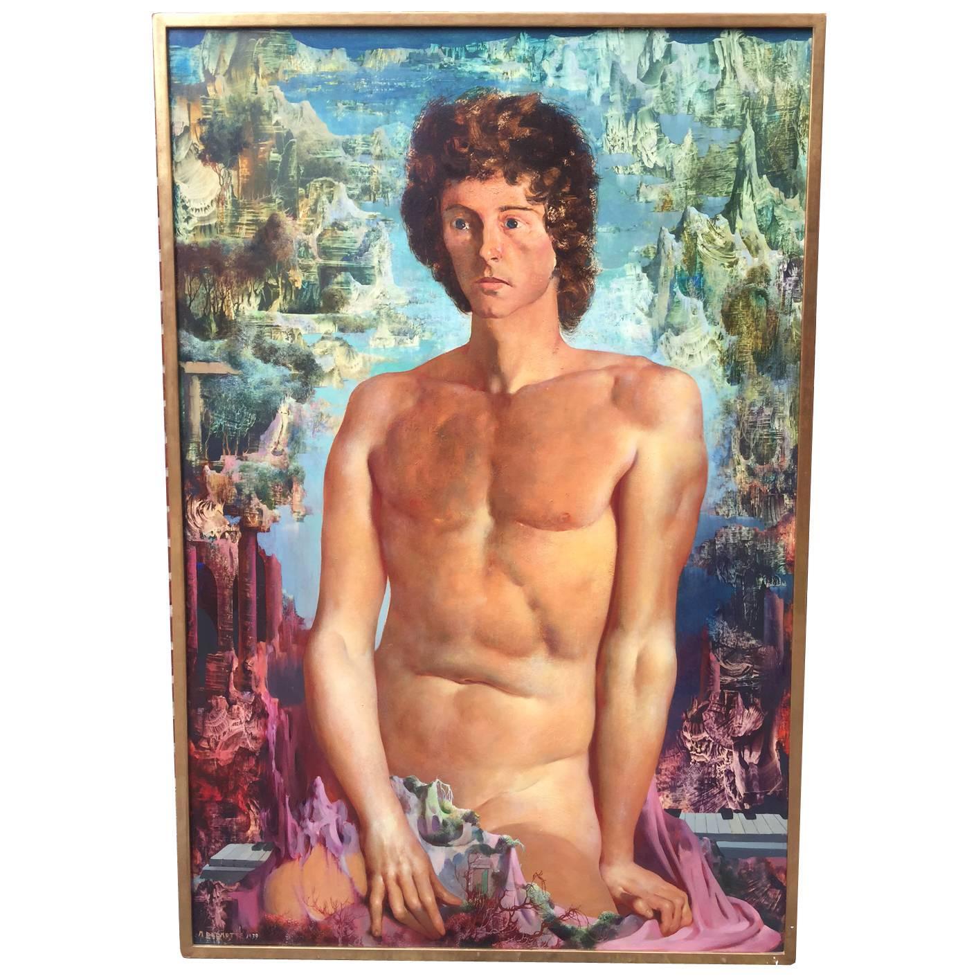 """Oil on Panel Painting """"L'art Est Un Miroir"""" Ou """"Nu Assis"""" Delmotte Marcel, 1979"""