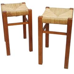 Pair of Rush Stools by Pierre Gautier-Delaye, France, 1970s